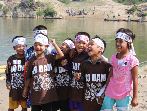 Children at a protest against proposed dams on the Salween River in Myanmar. Credit: Karen Environmental and Social Action Network.