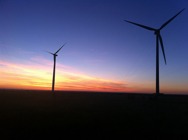 Wind turbines at twilight. Photo credit: US DOE.