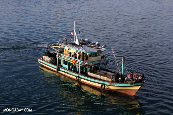 A fishing boat off the coast of the Malaysian state of Sabah. Photo by: Rhett Butler.