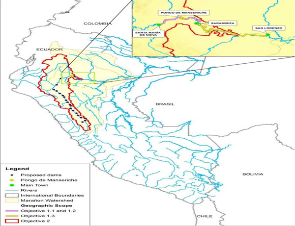 Map for a project funded by the Inter-American Development Bank (IDB) researching the potential impacts of dams on the Marañón River. The Pongo de Manseriche is one of the main focus areas. Map credit: IDB