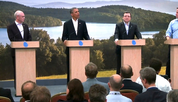 President Obama makes a statement about the trade agreement being negotiated between the U.S. and Europe known as the Transatlantic Trade and Investment Partnership in front of Lough Erne, Northern Ireland, in 2013. Photo credit: the White House.
