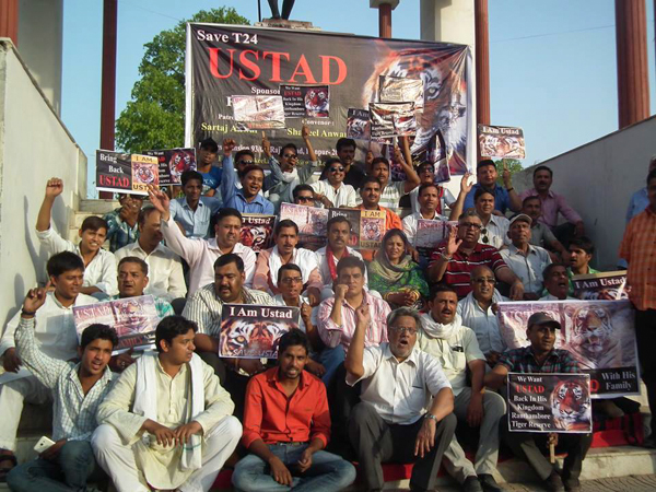 A protest in May, 2015, calling for Ustad's release in Jaipur, India. Photo credit: Shelley Mattocks.