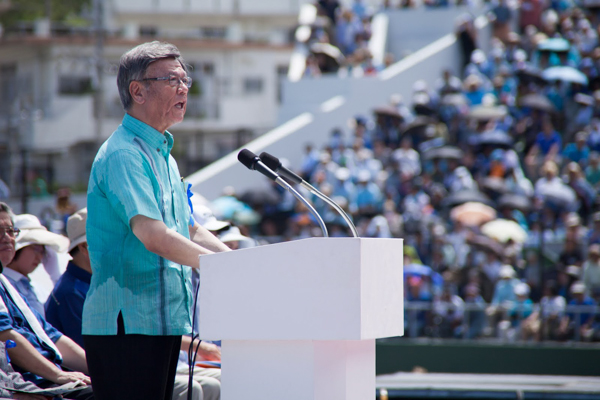 Okinawa's governor, Takeshi Onaga, addressed an estimated 35,000 protesters opposed to construction of the new air base in the city of Naha on May 17, 2015. Onaga was elected on an anti-air base platform last November. Photo credit: ©Greenpeace / Kayo Sawaguchi.