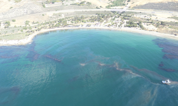 An aerial view of part of the spill on Wednesday, May 20, 2015. Photo credit: Refugio Response Information website.