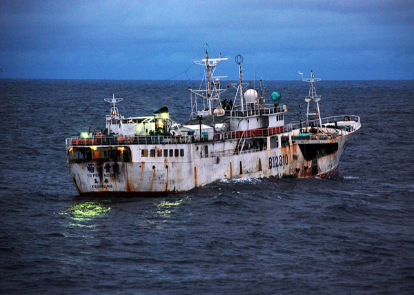 Yu Feng, a vessel with Taiwanese flags suspected of fishing illegally, sails near Sierra Leone in 2009 before being detained by the U.S. Coast Guard and Sierra Leonean government agencies. Photo credit: U.S. Department of Defense/Petty Officer 2nd Class Shawn Eggert, U.S. Coast Guard.