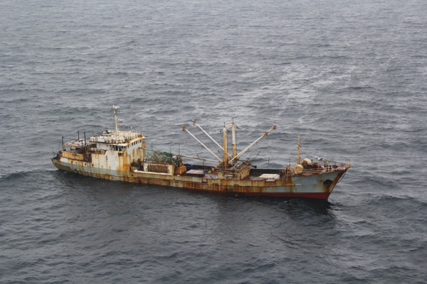 The fishing vessel Yin Yuan sails in international waters off Japan in May 2014. The U.S. Coast Guard intercepted the vessel for illegal fishing activities, including the use of prohibited drift nets, which