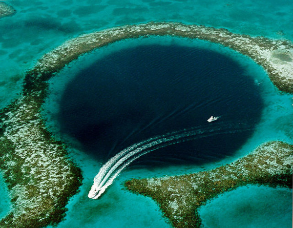 Belize's Great Blue Hole, a UNESCO World Heritage Site that would be included in areas opened to oil and gas drilling under a new proposal from the Belizean government. Photo credit: U.S. Geological Survey.