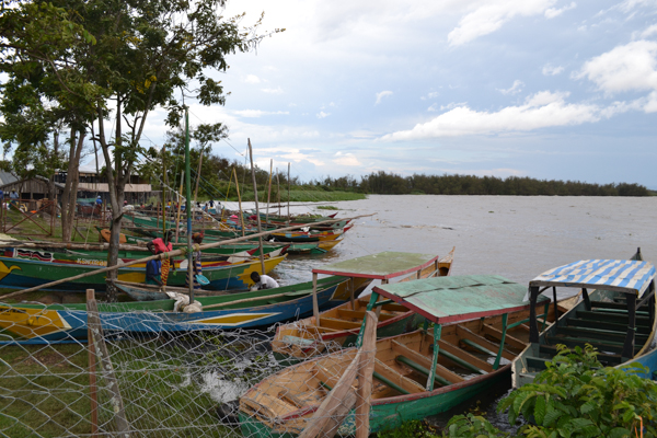 Fishing boats rest on the shore of Lake Victoria. Photo credit: Isaiah Esipisu.