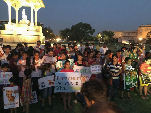 A protest in Jaipur, India, calling for Ustad's release in May, 2015. Photo credit: Shelley Mattocks.