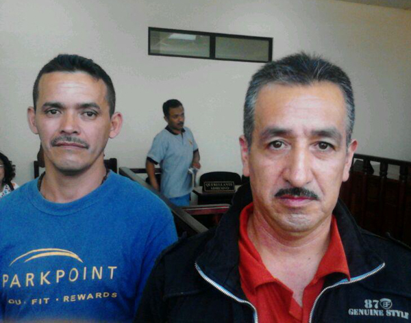 Saúl Méndez (left) and Rogelio Velásquez, pictured above in court after an appeal hearing on April 29, 2015, have spent most of the past three years in pretrial detention on various charges. They are both community leaders who oppose hydroelectric dams in Santa Cruz Barillas, Guatemala. Photo credit:Gustavo Illescas / Centro de Medios Independientes.