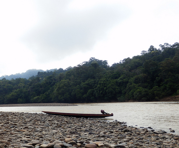 A boat rests on the shore of the Baram River in Sarawak, Malaysia. The area will be inundated if the controversial 1,200-megawatt Baram Dam is built. Photo credit: International Rivers.