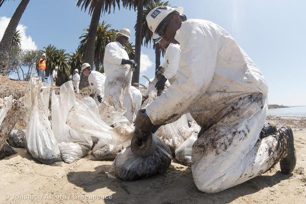 Clean-up workers bag oiled debris on Refugio State Beach on Wednesday, May 20, 2015. Photo credit: Jonathan Alcorn/Greenpeace.