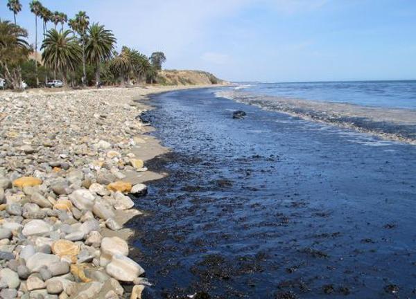 Oil on the beach at Refugio State Beach in Goleta, California, on Tuesday, May 19, 2015. Photo credit: U.S. Coast Guard.